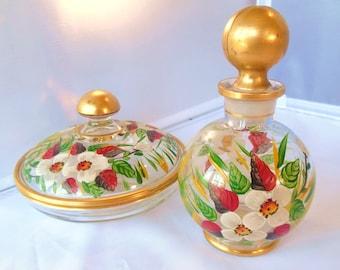Vintage Perfume Powder Box Set Vanity Flowers Red Gold 50s (item 7)