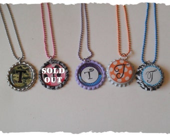 Your Choice Of Initial T Bottlecap Necklace Pick your Style