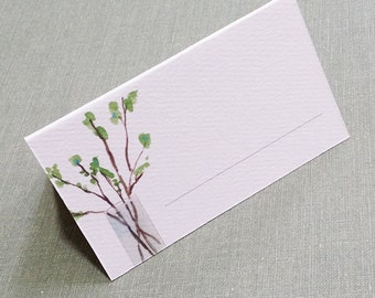 Place Cards, Woodland, Nature, Leafy Twigs in Vase, set of 12
