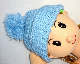 Kids Hat - Knitting  pom pom Hat Beret in blue 5T to 11.