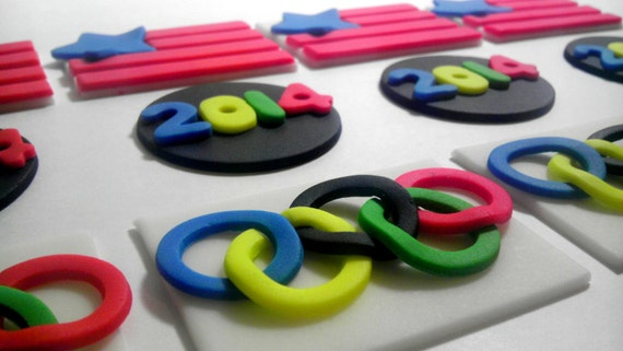 Olympics, 2015, Patriotic, Personalized, Edible Fondant, Cake Top and/or Cupcake Toppers