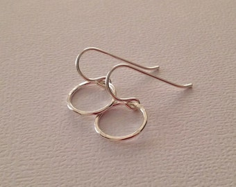 Tiny Ring Drop Earrings in Sterling Silver
