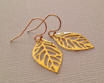 Leaf Earrings in Gold -Gold Leaf Earrings -Gold Nature Earrings -Fall Earrings