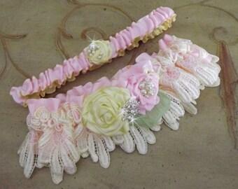 Pink Yellow Wedding Garter Set/ Lace Garter/Handmade Flowers