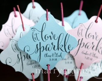 Wedding Favor Tags for Sparklers - Let Love Sparkle - Script Custom with Names and Date - Tag for Sparkler Send Off Idea (24 / 36ct) SS07
