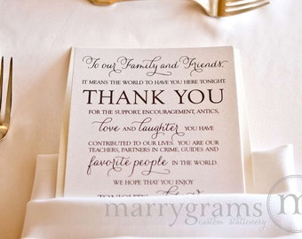 Wedding Reception Thank You Card to Your Guests - To Our Friends and Family... Reception, Seating Thank You Note Card (Set of 150) SS01