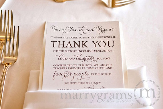 Thank You Gifts For Wedding Guests Gauteng : Wedding Reception Thank You Card to Your Guests - To Our Friends and ...