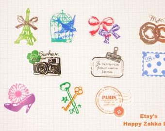 Translucent Sticker Set - Travel in Paris - 7 Sheets - 70 Pcs in 10 Designs