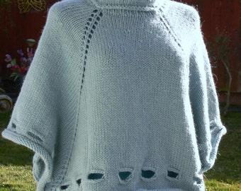 Vintage teal green Wool Poncho