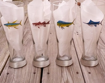 Set of 8 Sport fish hand painted pilsner glasses