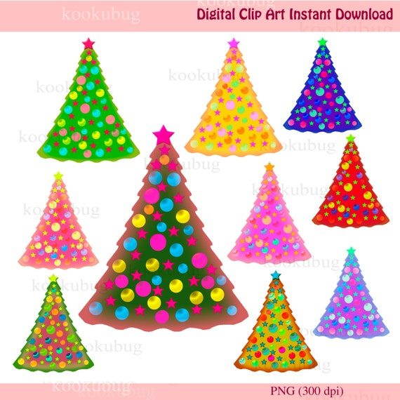 Christmas clipart, Christmas tree clip art, xmas tree, card making, scrapbooking, holiday clipart, holidays clip art, instant download