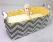 "Long Diaper Caddy 16""x6""x7"" with Divider, Fabric Storage Bin Grey/White Chevron with Yellow Lining"