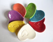 Party Favors, ring dish, ring holder, bright colored heart, engagement, baby shower, guest gift, Made to Order