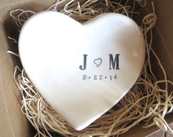 Mr and Mrs wedding ring dish,  ring holder, engagement present,  Black and White,  Gift Boxed, Made to Order