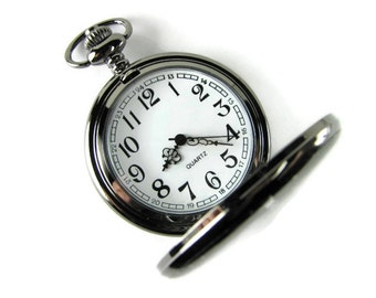 Personalized Pocket Watch Custom Engraved Gloss Black Quartz Pocket Watch with White Dial - Hand Engraved