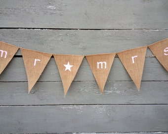 CLEARANCE SALE, Mr and Mrs Burlap Banner. Light pink