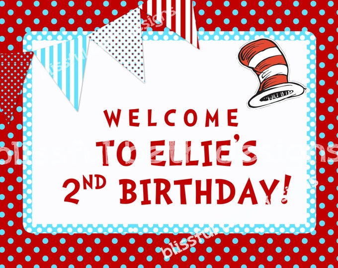 PERSONALIZED WELCOME SIGN Seuss Welcome Sign, Printable Seuss Welcome Sign, Seuss, Red and Aqua Personalized Seuss Welcome Sign