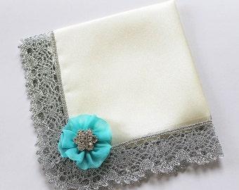Blue Wedding Handkerchief, Bride Handkerchief, Something Blue, Bridal Shower Gift, Mother of Bride, Satin Handkerchief, Custom Hanky Couture