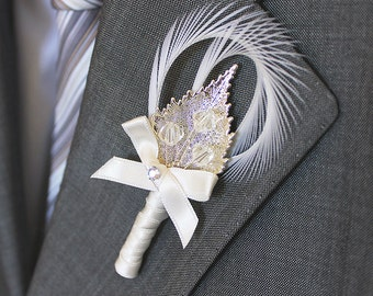 Sterling Silver Swarovski Feather Boutonniere, Groom Luxury Crystal Boutonniere, Custom Mens Wedding Boutonnieres, Tuxedo Accessories Attire