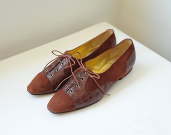 Vintage 1980's Ungaro Two Tone Brown Suede & Leather Oxford Shoes Made in Italy, Womens 7 1/2 / ITEM240