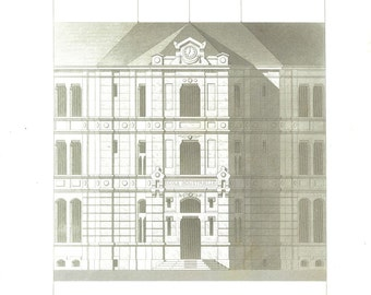 1873 Architectural Print,  Facade and Entrance, Ecole Industrielle, Epinal, France