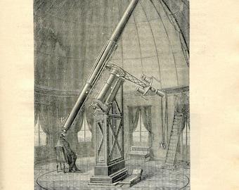 1893 Astronomy Print, Telescope Equatorial Mount, Paris Observatory