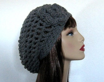 Gray Slouchy Hat with Flower Crochet Slouchy Hat Gray Slouchy Beanie Crochet Slouch Knit Beanie Crochet Gray Cap Crochet Gray Tam Slouch Hat