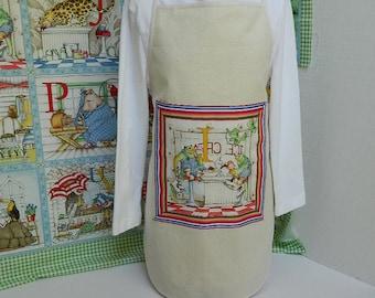 Childs Apron - Personalized Initial Kids Apron - Zoo Animal - Alphabet Apron - Handmade Children's Clothing - Kids Art Smock - Preschool