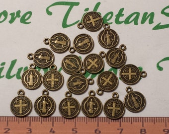 36 pcs per pack 10mm Reversible San Benito Coin Charm Antique Bronze Lead free Pewter