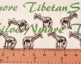 8 pcs per pack 25x12mm 3D Giraffe Charm Antique Silver Lead Free Pewter