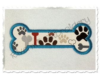 Applique Dog Bone Machine Embroidery Design - 4 Sizes