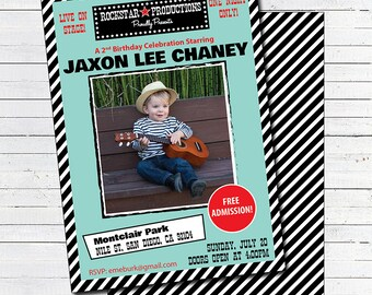 Rockstar Birthday Invitation - Printable Rockstar Invitation - Red, Mint, Black & White