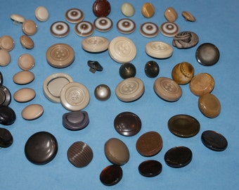 "55  Shades of Browns Shank Buttons 1/2""to 1 1/16 , Lot 824"