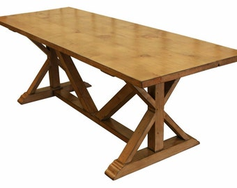 Country Trestle Refectory Dining Table Custom Built in Salvaged Wood From Old Buildings. Building Home Furnishings n Los Angeles Since 1989