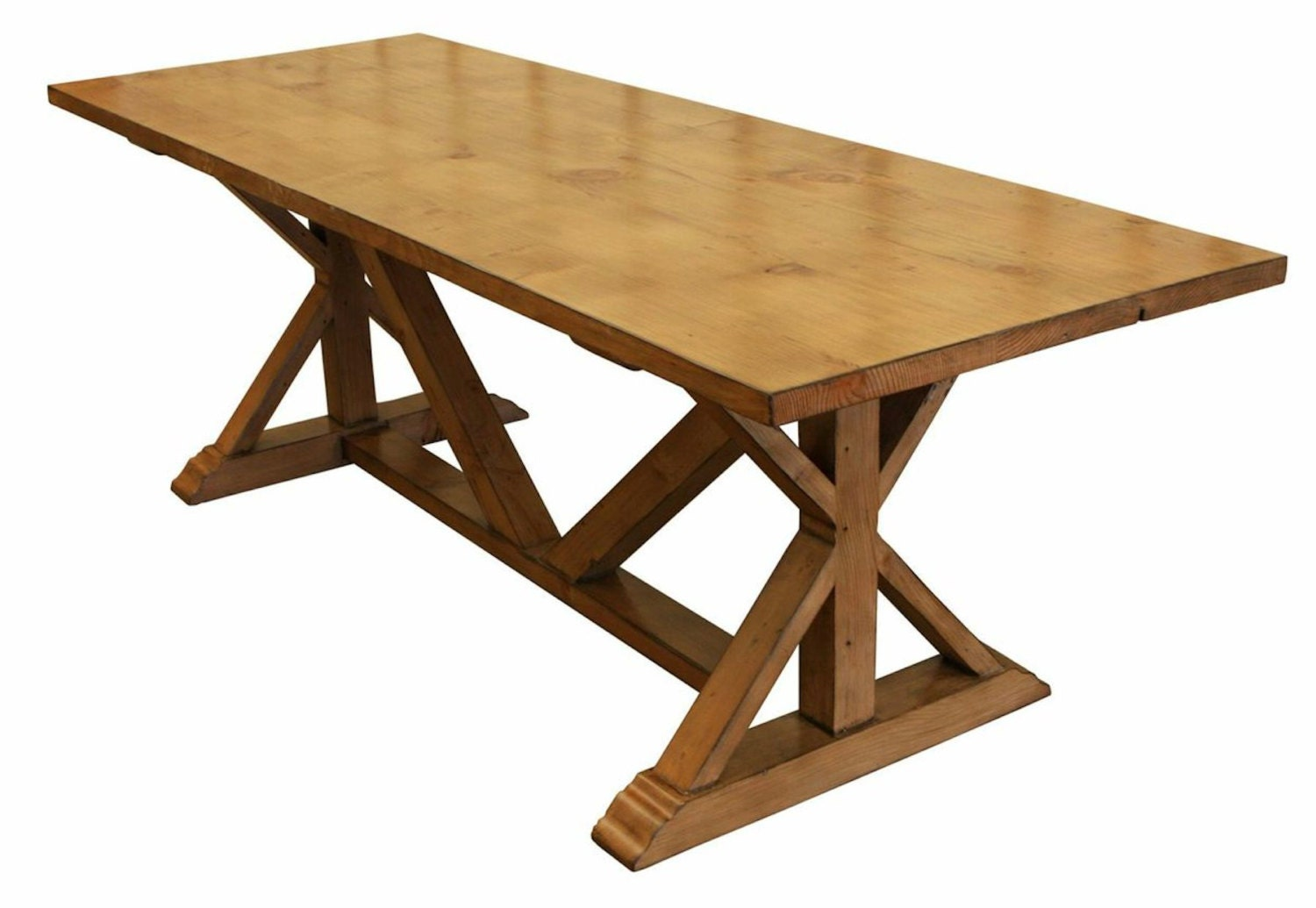 Country trestle refectory dining table custom built in for Built in dining table
