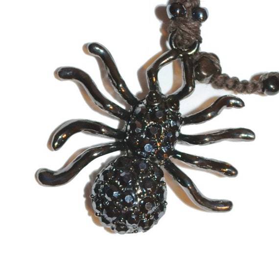 Gothic Black Spider Crystal Hand-Beaded OOAK Bookmark with FREE  Blank Journal