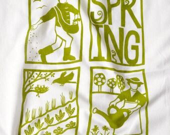 Flour Sack Dish Towel - Spring: Green