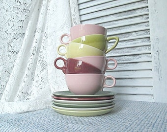 Mid Century Cup and Saucer Sets Mixed Color Lot Retro Vintage 1950s Universal Ovenproof Ballerina Pink Gray Green Maroon Chartreuse