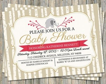 Elephant baby shower invitation, red, tan, and gold, digital, printable file
