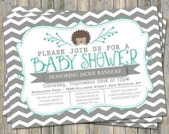 large chevron hedge hog baby shower invitation, gray and turquoise, digital, printable file
