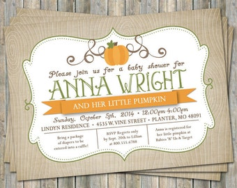 little pumpkin baby shower invitations, baby shower invitation with pumpkins, Digital, Printable file
