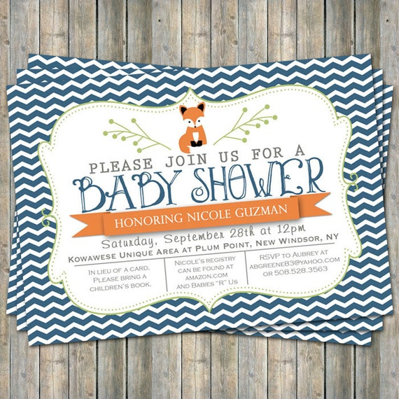 chevron fox baby shower invitation typography baby shower invitation