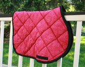 Horse Saddle Pad AP Quilted - Hot Pink Cheetah Print with Black Border and Billets