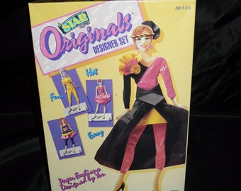 Vintage 1991 Star Originals Fashion Designer Set Plastic Doll Paper Doll Clothes with Box
