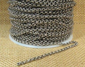 3.0mm Rolo Chain - Antique Silver - CH49 - Choose Your Length
