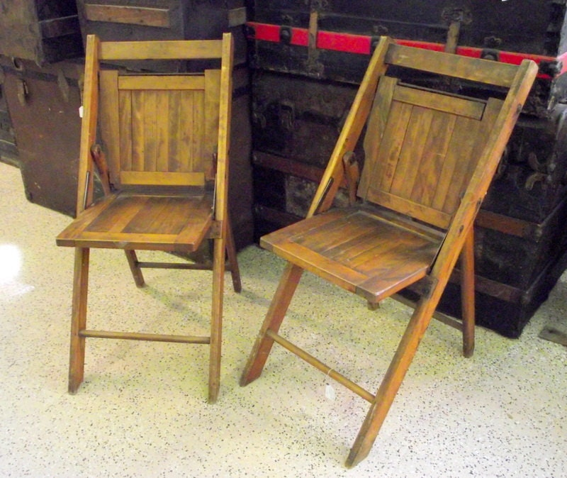 2 Antique Wood Folding Chairs Slatted Seat Ship By