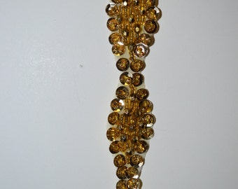 Gold Sequin and Faceted  Beaded Trim