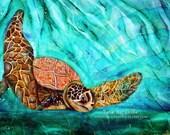 sea turtle painting, art, nautical, underwater,sea art,ocean art,ocean paintings,fine art,seascapes,large turtle painting,gulf coast