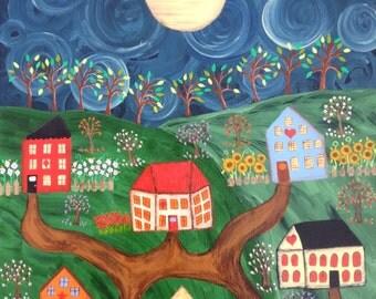"Kerri Ambrosino Original Mexican Folk Art Painting Saltbox Houses Mountains Landscape ""All roads lead to my heart"""
