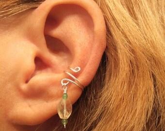 Non Pierced Sterling Ear Cuff Citrine and Jade Gemstones Cartilage
